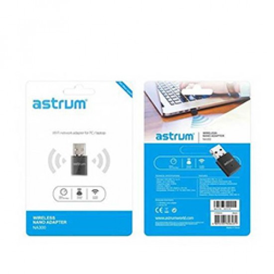 Astrum Nano Wi-fi Network Adapter 300mbps for PC/Laptop - NA300