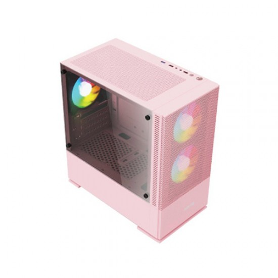 Value Top VT-B701-P Mini Tower Micro-ATX (Tempered Glass Side Window) Pink Gaming Desktop Casing
