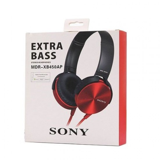 SONY MDR-XB450AP_Red Wired Headset  (Red, On the Ear)