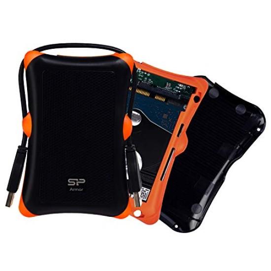 Silicon Power Armor A30 2.5-inch Shockproof SATA Hard Drive Enclosure Black